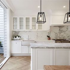 My Favourite Kitchen look. Love the white shaker cabinets, white/grey marble and wood floors. file-16-09-2016-3-52-50-pm