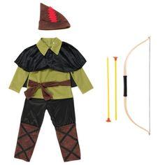 Ce déguisement de Robin des Bois est complet : il contient un pantalon, une tunique, une cape courte, un chapeau et un arc avec des flèches. Le petit garçon est prêt pour préparer une embuscade dans la forêt de Sherwood. C'est lui l'ami des pauvres, celui qui n'a peur de rien ni de personne. Grâce à son imagination, ce personnage n'est plus une légende mais un vrai héros, courageux.