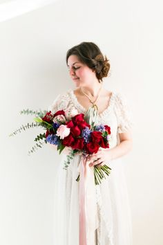 Gorgeous red rose bouquets: http://www.stylemepretty.com/oregon-weddings/salem-or/2015/02/13/vintage-valentines-bridal-inspiration/ | Photography: Hurtienne - http://hurtiennephotography.com/