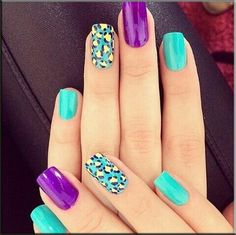 American Manicure Nail-purple and green #ballupdate.net is best nail site