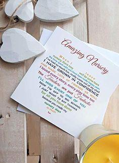 Nursery Card -Thank You Card for Nursery, Leaving Card - Leaving Nursery, Nursery Teachers, Nursery Poem Rainbow Colo... Nursery Teacher, Nursery Poem, Teacher Thank Yous, Teacher Poems, Teacher Gifts, Leaving Gifts, Leaving Cards, Kindergarten Gifts, Graduation Card Messages