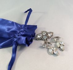 Vintage Clear Rhinestone Drop Earrings and Brooch Set
