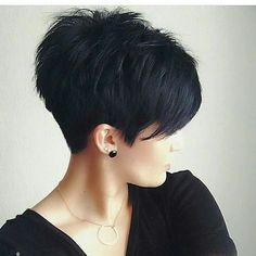 Layered pixie long bangs