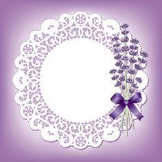 Round lace with blue flower vector