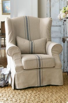 Slipcovered Tristan Chair from Soft Surroundings. Maybe paint on dining room chair when I recover. Slipcovers For Chairs, Slipcover Chair, Wingback Chair Slipcovers, Farmhouse Recliner Chairs, Blue Wingback Chair, Upholstered Chairs, Swivel Chair, Chair Cushions, Regal Design