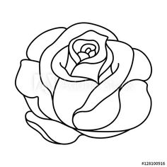 Rose Drawing Discover silhouette of black and white rose - Buy this stock vector and explore similar vectors at Adobe Stock Rose Outline Drawing, Flower Outline, Outline Drawings, Pencil Art Drawings, Art Drawings Sketches, Easy Drawings, Flower Art, Easy Rose Drawing, Rose Outline Tattoo