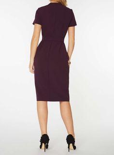 Womens Blackcurrant Zip Front Pencil Dress- Purple