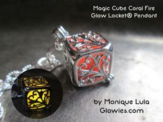 Coral Fire Silver Magic Cube Glow Locket®
