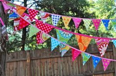 Fabric mini pennant banner bunting Birthday party by GiddyGumdrops, $28.00
