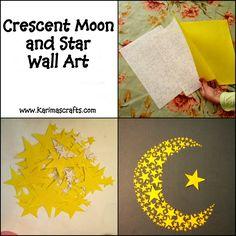 crescent moon and stars wall art ramadan crafts Islam Karima's Crafts