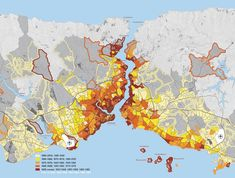 This map charts the city's growth according to the date of construction of residential buildings. Darker shaded areas correspond to older buildings, providing an insight into how Istanbul's socio-spatial urban formation has evolved.  Murat Güvenç, urban p