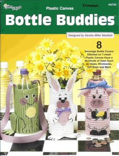 Bottle Buddies Pg 1/18 Plastic Canvas Books, Plastic Canvas Coasters, Plastic Canvas Crafts, Plastic Canvas Patterns, Bottle Buddy, Water Bottle Covers, Thing 1, Fabric Yarn, Needlepoint