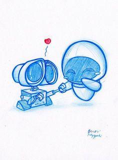 Really cute Wall-e and Eva fan art! Daily Doodle Wall-e! By PodgyPanda… Arte Disney, Disney Art, Disney Movies, Disney Magic, Disney Characters, Disney And Dreamworks, Disney Pixar, Chibi Disney, Cool Drawings