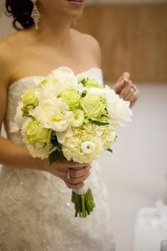 Bridal Bouquet: green green roses, hydrangea ivory, peonies white - Make peonies & roses pink. Add lilies. Should be smaller.