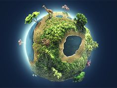 Little Big Planet designed by Rob Hendricks. Little Big Planet, Small Planet, Earth Drawings, Cool Drawings, Save Environment Posters, Fantasy World Map, Wallpaper Earth, Earth 3d, Planet Design