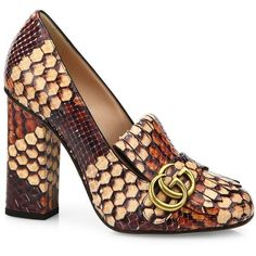 Gucci Marmont GG Python Block-Heel Pumps ($1,850) ❤ liked on Polyvore featuring shoes, pumps, apparel & accessories, gucci shoes, snakeskin print shoes, fringe shoes, python print shoes and snake print shoes