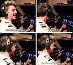 Niall flying a plane<< of course the first thing he does is laugh