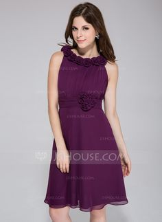 A-Line/Princess Scoop Neck Knee-Length Chiffon Bridesmaid Dress With Ruffle Flower(s) (007026082) - JJsHouse