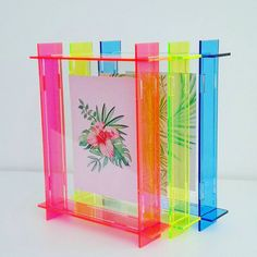 small acrylic box frame neon pink a6 perspex frame floating frame 3d frame