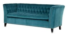 Contemporary Turqoise Enzo 3 Seater Sofa with Silver Feet