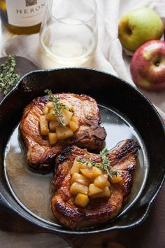 Cider-Brined Pork Chops with Apples. Cider-Brined Pork Chops with Sauteed Apples are the perfect meal to cozy up with this fall Pork Recipes, Fall Recipes, Dinner Recipes, Cooking Recipes, Healthy Recipes, Dinner Ideas, Healthy Food, Sauteed Apples Recipe, I Love Food