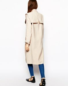 Image 2 of ASOS Duster Coat with Stormflaps