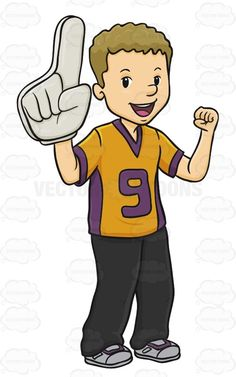 Male Sports Fan Wearing A Foam Finger And Looks Excited #action #addict #amusement #athletics #buff #devotee #excited #fan #foamfinger #follower #game #games #groupie #happy #hound #male #man #pastime #play #rooter #sports #sportsfan #sportsfanatic #support #supporter