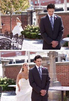 For the first look, picture of bride behind Groom before they see one another