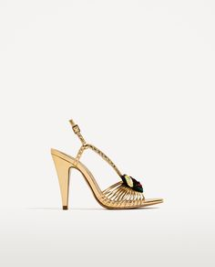 Image 2 of GOLDEN SANDALS WITH FRUIT DETAIL from Zara