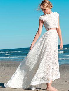beach wedding lace two piece wedding dress