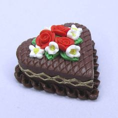 Miniature Chocolate Heart Cake with White and Red Flowers