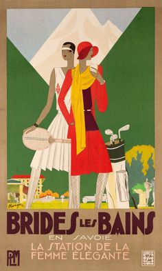 Reprint of  Art Deco Brides Des Bains Poster by VPCompany on Etsy