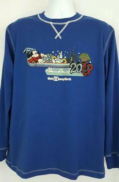 c312c2fb1ee1 Details about Disney Parks Mens L Crew Neck Long Sleeve Shirt Blue Mickey  Mouse Magic 2013