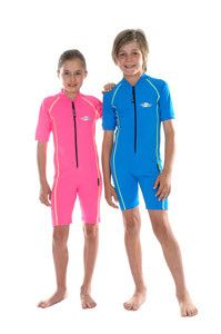 88a981d8a7f Sports style short sleeved Stingray sunsuit with high collar and zip front.