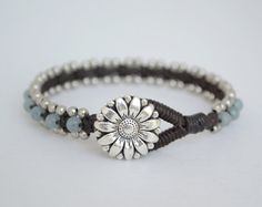 Best Unique Bracelet For Women, Handmade Natural Stone Jewelry For Her, Aquamarine Gemstone Daisy Flower Cuff Bracelet, FLW - Mothers day gift Gift for mom Unique Gemstone Bracelet Gift - Leather Jewelry, Wire Jewelry, Jewelry Crafts, Beaded Jewelry, Jewelery, Handmade Jewelry, Jewelry Ideas, Jewelry Kits, Jewelry Armoire