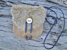 Leather Viking Purse, Fur Leather Bag, Pouch - Medieval, Renaissance, SCA - Brown with Faux Fur