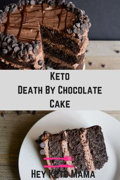 This Keto Death by Chocolate Cake is for the ULTIMATE chocolate lover! It's the perfect low carb sweet treat to satisfy your cravings! Desserts Keto, Keto Friendly Desserts, Keto Snacks, Dessert Recipes, Recipes Dinner, Keto Sweet Snacks, Cupcake Recipes, Dessert Ideas, Keto Cake