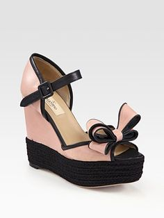 Valentino Couture Bow Two-Tone Leather Bow Wedge Sandals