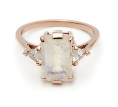 This version of our Bea three stone engagement ring features a stunning Emerald cut Moonstone stone set in an A. ceremonial signature basket- 10 prongs of mix Traditional Engagement Rings, Three Stone Engagement Rings, Three Stone Rings, Rose Gold Engagement Ring, Engagement Jewelry, Moonstone Engagement Rings, Non Diamond Wedding Rings, Engagement Bands, Solitaire Engagement