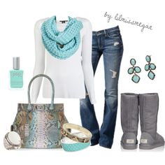 """""""Comfy & cozy outfit"""" and I have a perfect turquoise purse to match! Cute Winter Outfits, Fall Outfits, Casual Outfits, Cute Outfits, Outfit Winter, Cute Fashion, Fashion Outfits, Womens Fashion, Cheap Fashion"""