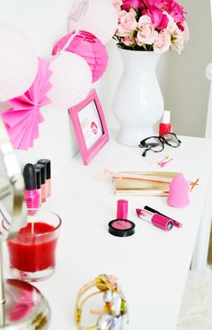 DIY Vanity for Small Spaces - Planning Pretty Pink Love, Pretty In Pink, Diy Vanity, White Vanity, Vanity Ideas, Coffee Table Arrangements, Diy Wall Shelves, Shelf, Pink Day