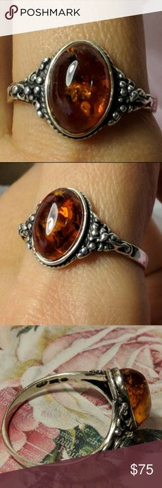 Size N Sterling Silver Abstract Design Ring With Cognac Baltic Amber Fine Rings Gemstone