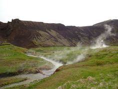 "Hot stream running through the lush green Reykjadalur, which means ""steamy…"