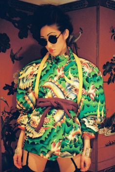 The Other Yamamoto – Kansai Yamamoto Singer and model Julie Roche (Real Paradis) wears vintage 1970′s Kansai Yamamoto from her mother Casuko's collection.