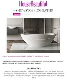 Showstopping baths featuring apaiser's Harmony bath available from Laurence Pidgeon laurencepidgeon.com