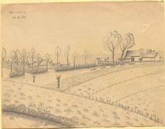 """""""Warneton"""", Bleistiftzeichnung: Der Vordergrund wird dominiert von Wiesen und Äckern, während im Hintergrund eine Ansiedlung aus mehreren Häusern zu erkennen ist. Bestand 192-31, Nr. 35."""