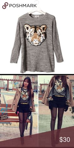 Tiger sequence sweater Kenzo inspired from European brand pull and bear. Size S/M. This sweater should look oversized. Perfect with leggins, black mini skirt, or leather pants. Tiger appliqué made of sequins. Rare to find Kenzo Sweaters