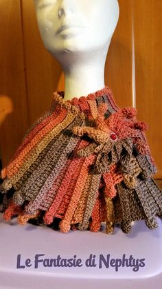 Crochet Multicolor Scarf Fantasy with Flower by LeFantasiediNephtys