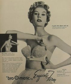 The bra-o-matic, a quick click adjusts each cup. 1950s vintage lingerie ad.