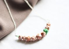 Polymer clay Necklace, FREE SHIPPING, Original Jewelry, OOAK Necklace, Handmade Pendant, Green and Orange Necklace